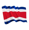 political waving flag of costa rica vector image vector image