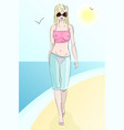 pretty girl beach vector image