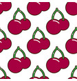 seamless pattern cherries fruit food on white vector image