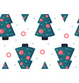 seamless pattern with christmas trees flat style vector image vector image
