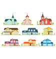 set of flat icon suburban american houses and vector image vector image
