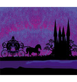 Silhouette of a horse carriage and a medieval vector image vector image