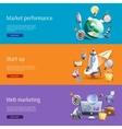 Start up marketing flat banners set vector image vector image