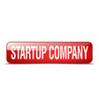 startup company red square 3d realistic isolated vector image vector image