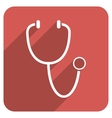 Stethoscope Flat Rounded Square Icon with Long vector image vector image