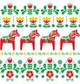 Swedish dala horse pattern scandinavian style vector image