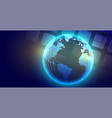 technology global glowing earth banner design vector image