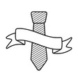 tie and ribbon black and white vector image
