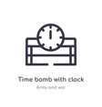 time bomb with clock outline icon isolated line vector image vector image