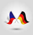 two crossed czech and german flags vector image vector image