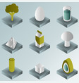 vegeterian color gradient isometric icons vector image vector image
