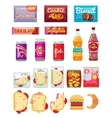 Vending machine products packaging flat icons vector image vector image