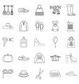 walking to clothes icons set outline style vector image vector image