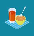 wheat porridge and fruit juice breakfast healthy vector image