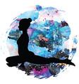 women silhouette pigeon yoga pose kapotasana vector image vector image
