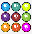 Balloon Icon sign Nine multi colored round buttons vector image vector image
