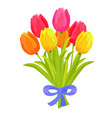 beautiful bouquet of seven multicolored tulips vector image vector image