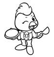 black and white cartoon chicken mascot cute chef vector image