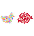 black friday composition of mosaic map of borneo vector image vector image