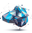 Blue abstract 3D structure polygonal object cosmic vector image