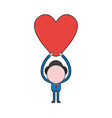 businessman character holding up heart color and vector image