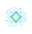 cartoon sun icon in comic style summer sunshine vector image