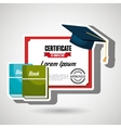 certificate and books isolated icon design vector image vector image