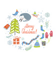 Christmas card with knitted things cat snow tree vector image