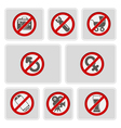 color icons with prohibiting signs vector image vector image