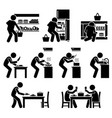 cooking at home and preparing food pictograph set vector image