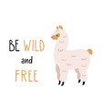 cute alpaca with funny lettering vector image vector image