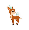 cute little fawn character wearing party hat with vector image