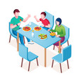 family enjoying meal or dinner lunch at table vector image