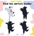 find correct shadow game fun activity page vector image vector image