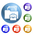 folder briefcase icons set vector image