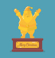 golden santa claus trophy vector image vector image