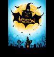 halloween background with bat monster vector image vector image