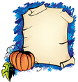 halloween background with parchmentt and pumpkin vector image vector image