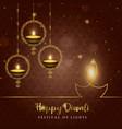 happy diwali diya candle card for hindu festival vector image