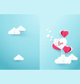 heart shaped balloons with cloud on soft blue vector image
