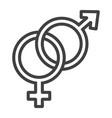 heterosexual line icon valentines day vector image vector image