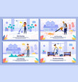 house cleaning service works banners set vector image vector image