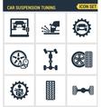 icons set premium quality car suspension tuning vector image vector image