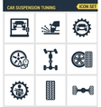 Icons set premium quality of car suspension tuning vector image vector image