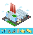 Isometric Warehouse with Industrial Shipping Area vector image vector image