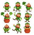 leprechaun cartoon character set for saint vector image