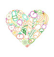 line food icons heart healthy eating love concept vector image vector image