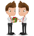 Man Give Gift Oneself Cartoon vector image vector image