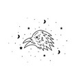 mystical raven with moon and stars stars vector image vector image