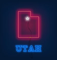 neon map state of utah on dark background vector image